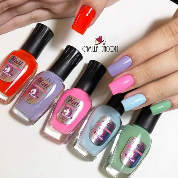 unhas multicolor nails