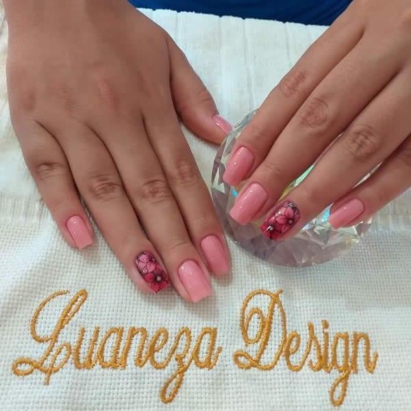unhas decoradas lindas nude rosa