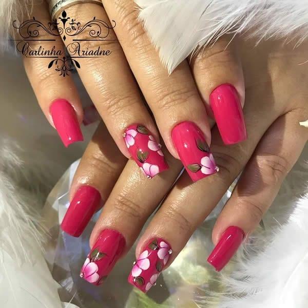 unhas decoradas lindas pink