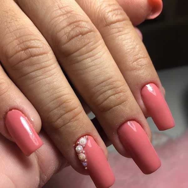unha acrigel rosa nude filha única pedra