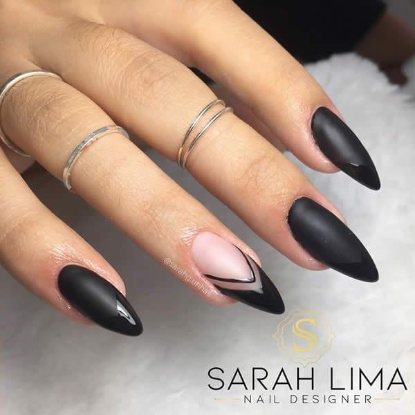 unhas decoradas pretas foscas