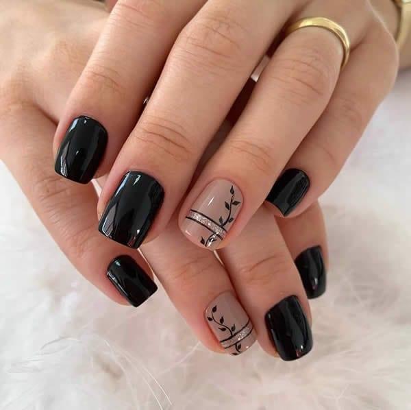 unhas decoradas pretas esmaltação
