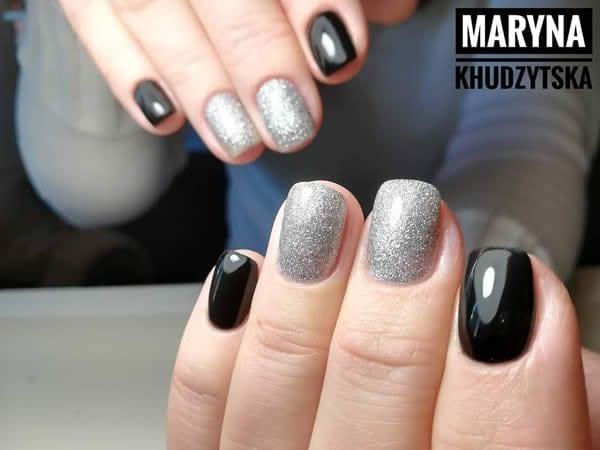 unhas pretas com prata