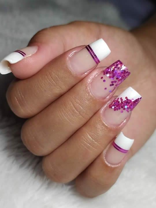 unhas encapsuladas glitter