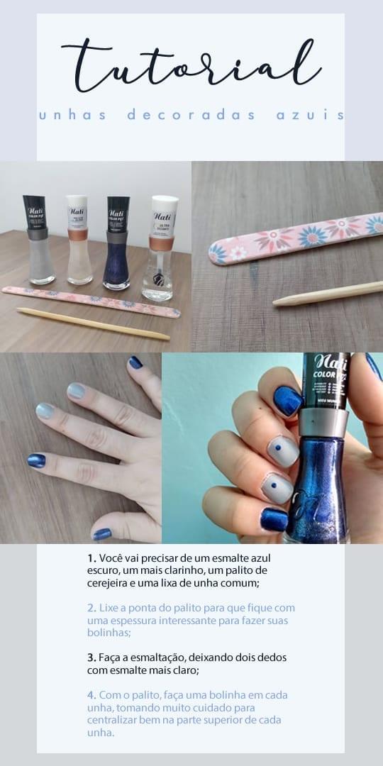 tutorial de como fazer unhas decoradas azul