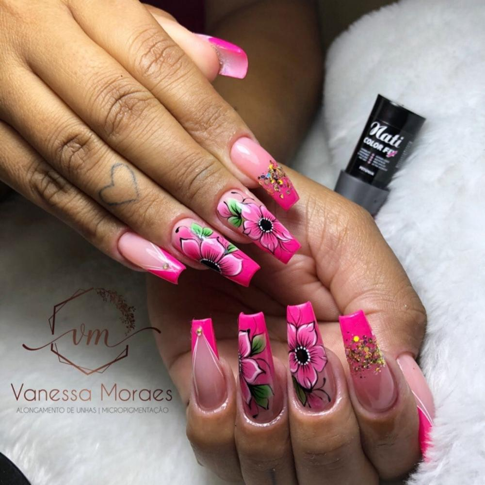 unhas de gel decoradas pink