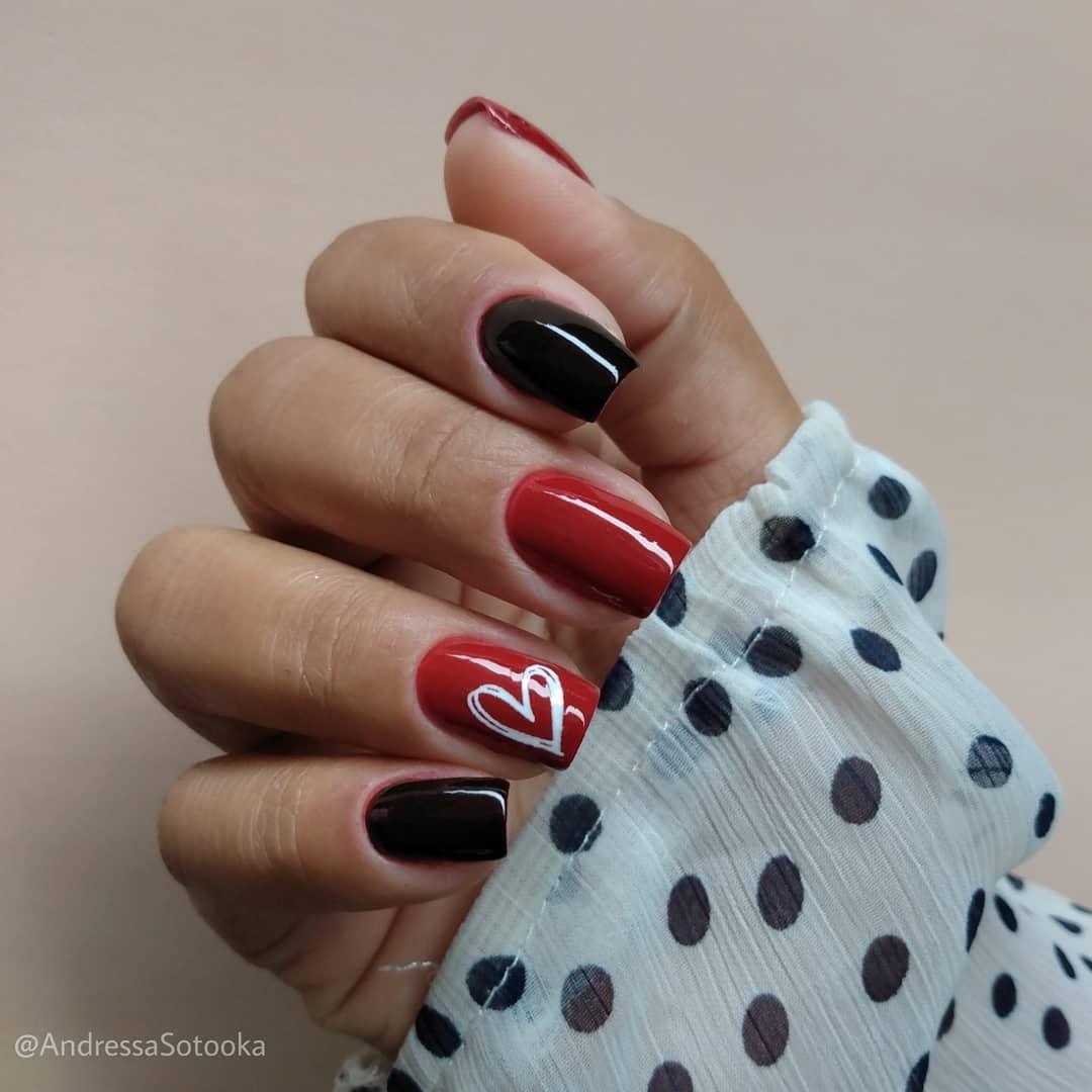unhas decoradas fáceis de fazer com adesivo de coração