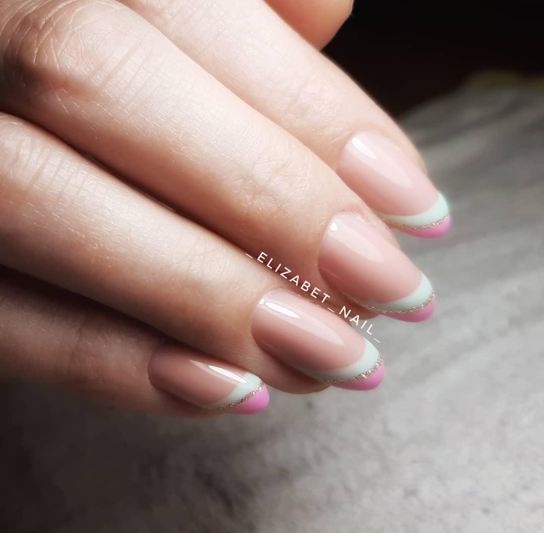 rainbow french nails francesinha arco-íris