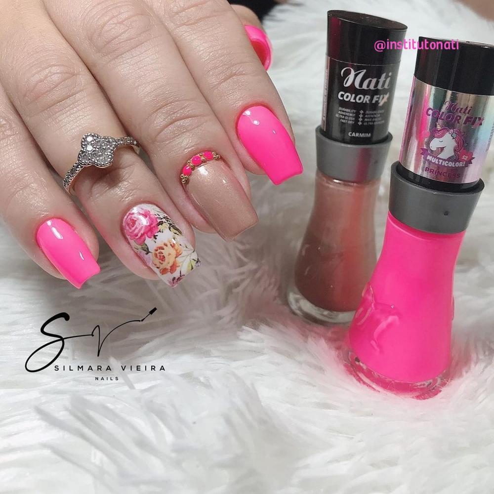 esmalte neon rosa